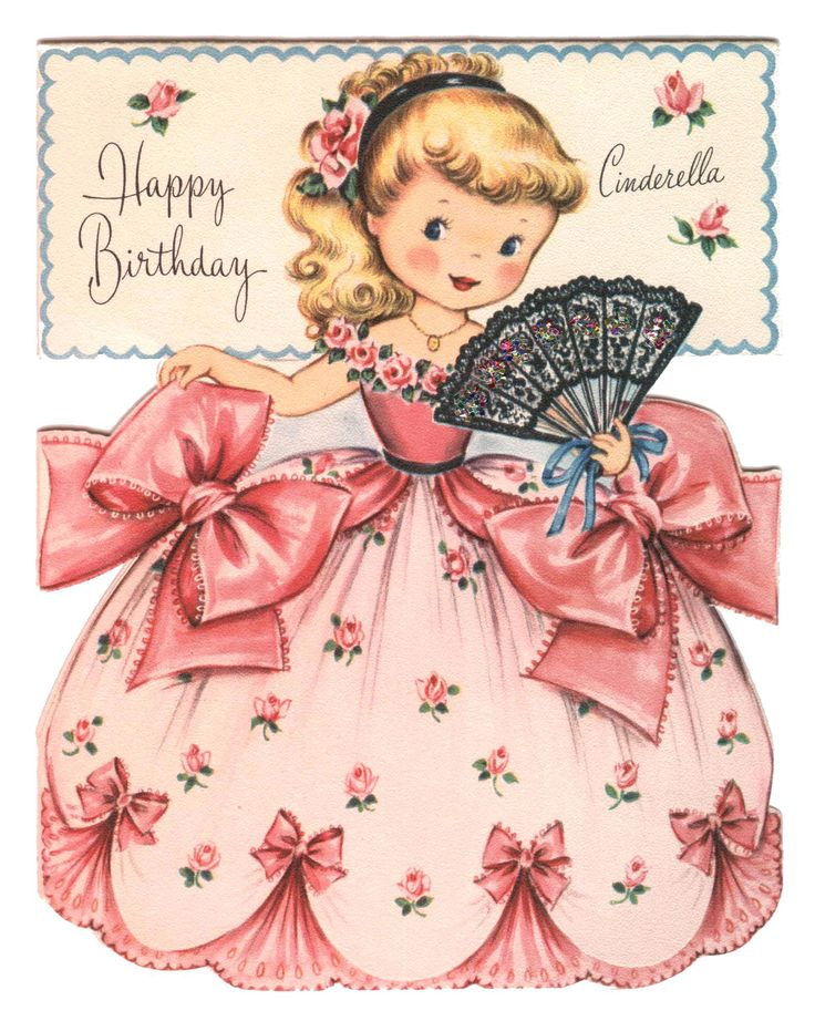 Happy Birthday Cinderella - Vintage Birthday Card