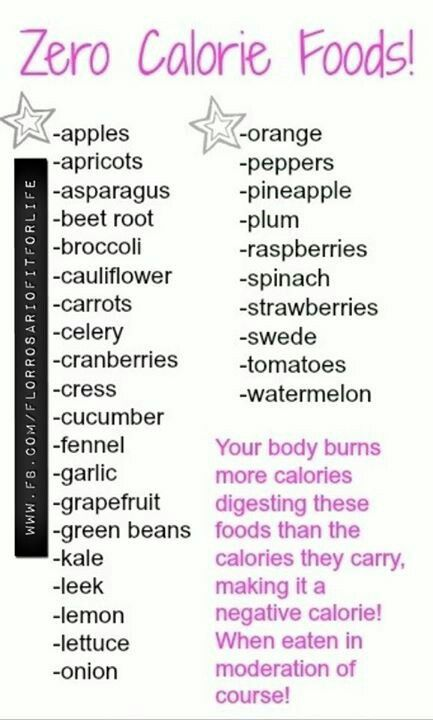 You're body actually BURNS calories while eating these foods! Good to know.