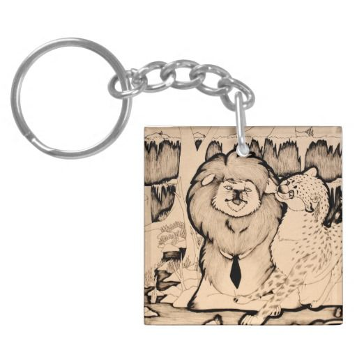 """Young Girl"" Lion and cheetah couple illustration Keychain"