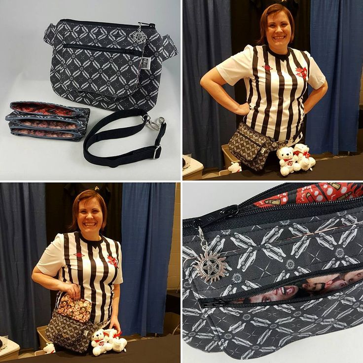 I also had the pleasure of delivering an awesome custom order hip bag and money pouches to an even more awesome volunteer, Miranda, at the #c4con setup tonight!  This #Supernatural inspired #waistbag can also be worn as a #crossbody sling. It features many fine fabrics with items like Baby, strategically placed Dean scream and all the demon killing tools inside, along with some pie fabric to line the pockets. I also placed a protection symbol charm as the finishing touch for the zipper pull.
