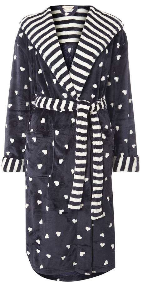 Navy Print Dressing Gown