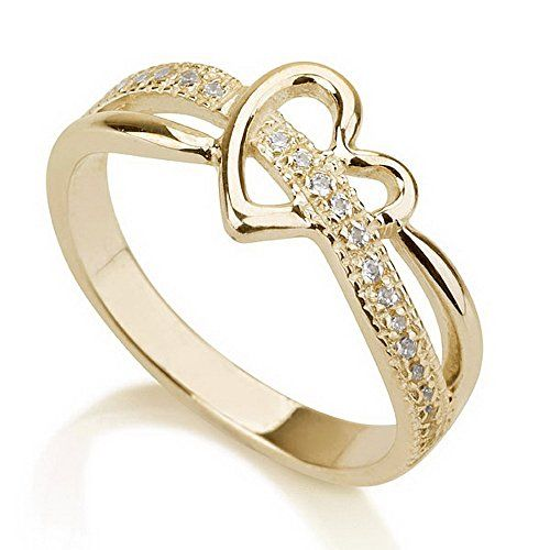 Gold Heart Ring, Love Ring Heart, Promise Ring 925 Sterling Silver Plated in 18k Gold -Available sizes 5,5.5,6,6.5,7,7.5,8,8.5,9