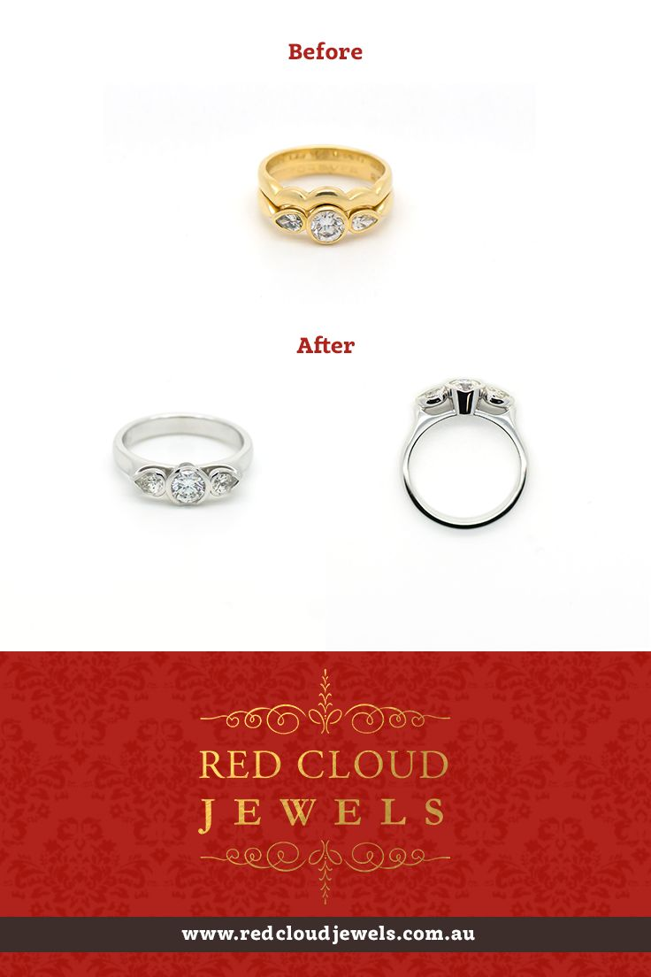 Your jewellery taste is like good wine - it develops and changes with time. We remodelled this 18ct yellow gold ring into 18ct white gold (with total diamond weight 0.92ct). Another delighted customer! | Outstanding Jewellery for Outstanding Individuals | www.redcloudjewels.com.au