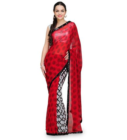 Red and White Printed Georgette Saree | Fabroop USA