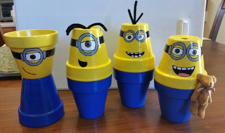 minions from Minion Movie made with clay terracotta pots - image only