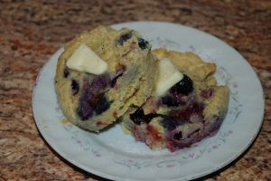 """Blueberry Muffin in a Mug or Waffles (S). A few more ingredients than I'd usually label as """"easy,"""" but these ARE easy...and good!"""