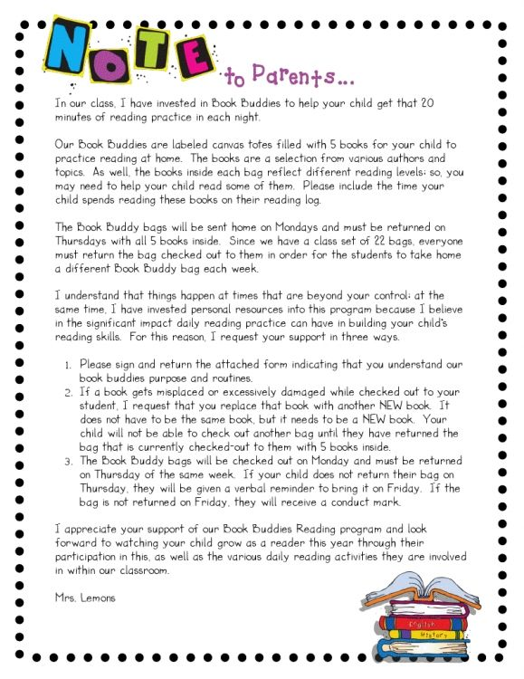 Parent Letter From Beginning Of The Year Kindergarten