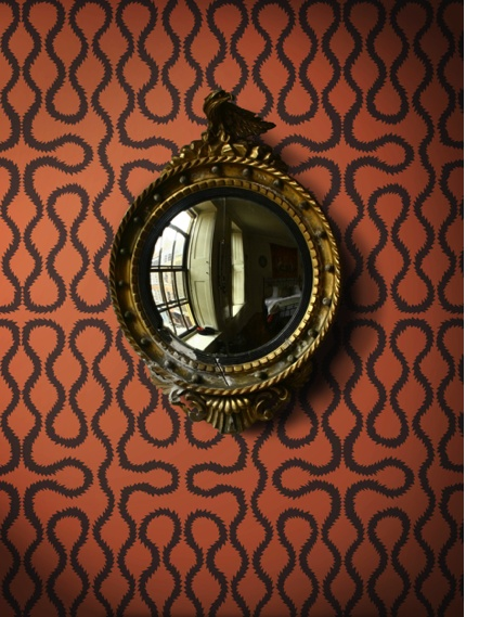 vivienne westwood wallpaper and a van eyckian convex mirror. Available at Cole & Son