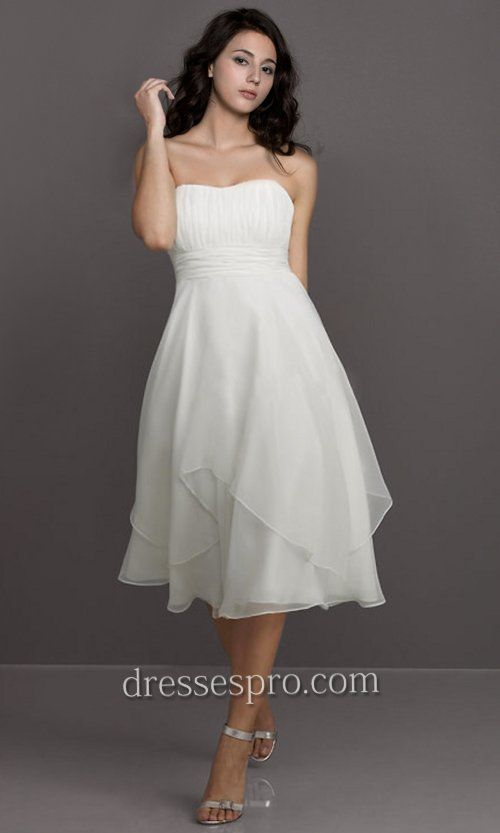 Flowing short plus size beach wedding dresses strapless for White dresses for wedding guests