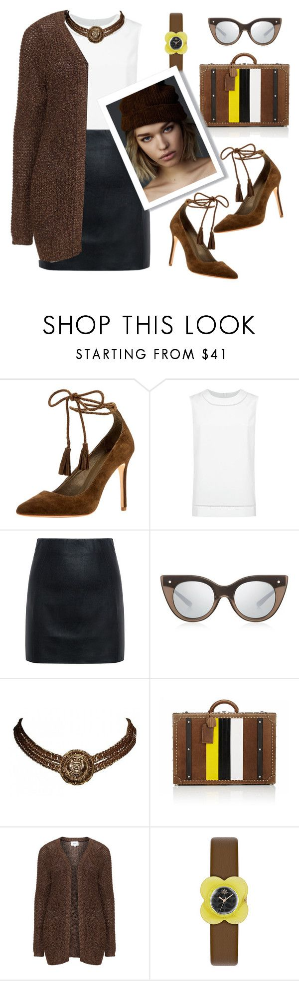 """""""Choco"""" by liligwada ❤ liked on Polyvore featuring Joie, St. John, McQ by Alexander McQueen, Le Specs Luxe, Chanel, Ghurka, Zizzi and Orla Kiely"""