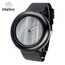 Black Wooden Women Watch High Quality Mens Watch Wood Japan Quartz Movement Leather Strap Casual Wristwatches With Box Relojes(China (Mainland))