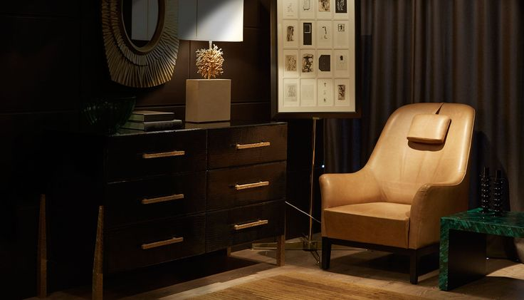 Side chair in leather upholstery in the Gurgaon furniture showroom
