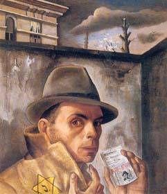 """""""AUTORITRATTO CON CARTA D'IDENTITA"""" di Felix Nussbaum, 1943. Gli autoritratti eseguiti tra il 1943 e il 1944, prima della deportazione finale ad Auschwitz, mostrano paura, disprezzo e disperazione . """"Autoritratto con Carta D'Identità"""" è divenuto un'icona più volte riprodotta come simbolo dell'Olocausto. Nussbaum, deportato con l'ultimo convoglio partito dal Belgio per Auschwitz, ha lasciato uno straordinario repertorio di testimonianze visive riguardo la propria persecuzione."""