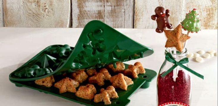 Stampino in silicone per preparare 16 cake pops a tema natalizio.