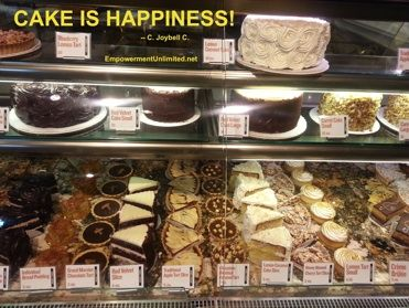 Cake is happiness!  http://empowermentunlimited.net/Empowerment_Unlimited/Food_for_Friday.html
