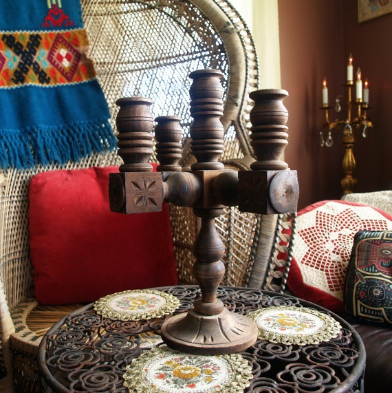 VINTAGE HANDCARVED WOOD Candelabra Wooden by ACESFINDSVINTAGE, $29.00Bohemian Styleaztec