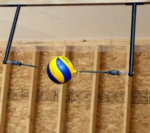 Volleyball Spike Trainer VST-500 Practice ball contact, arm swing, and footwork techniques with the new Volleyball Spike Trainer for Ceiling Joint Mounting in Garages and Basements.