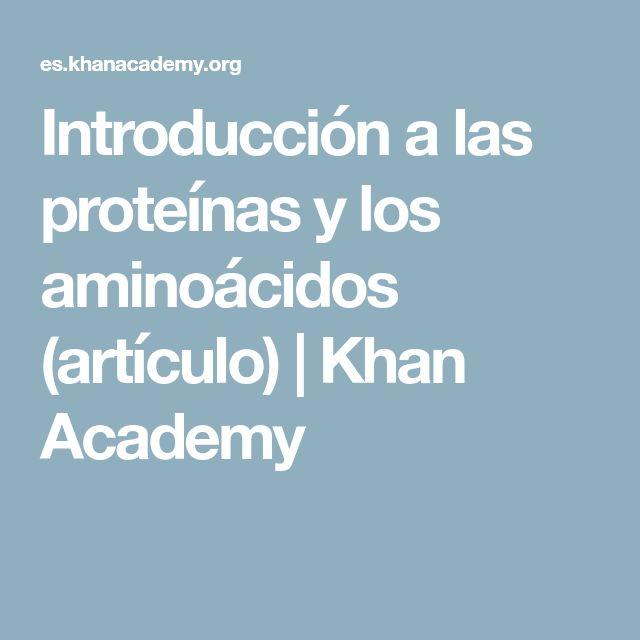 Introducción a las proteínas y los aminoácidos (artículo) | Khan Academy