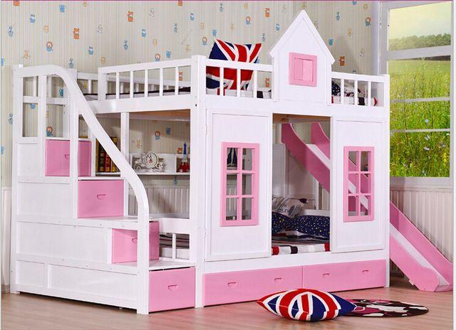 Children bunk bed wooden 2 floor ladder ark with slide bed pink children bedrooms set furniture bule children bedroom