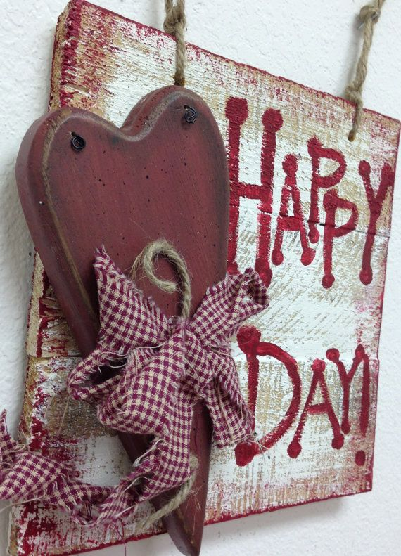 Happy Heart Day, recycled wood, hand made heart and hand painted sign to hang on your flag pole, on your front door or in your office. Also makes a wonderful gift for those who love antique red hearts. Heart is embellished with rustic red check muslin, hang with jute. Back is finished. 9 x 10 Ready to ship anywhere….only one
