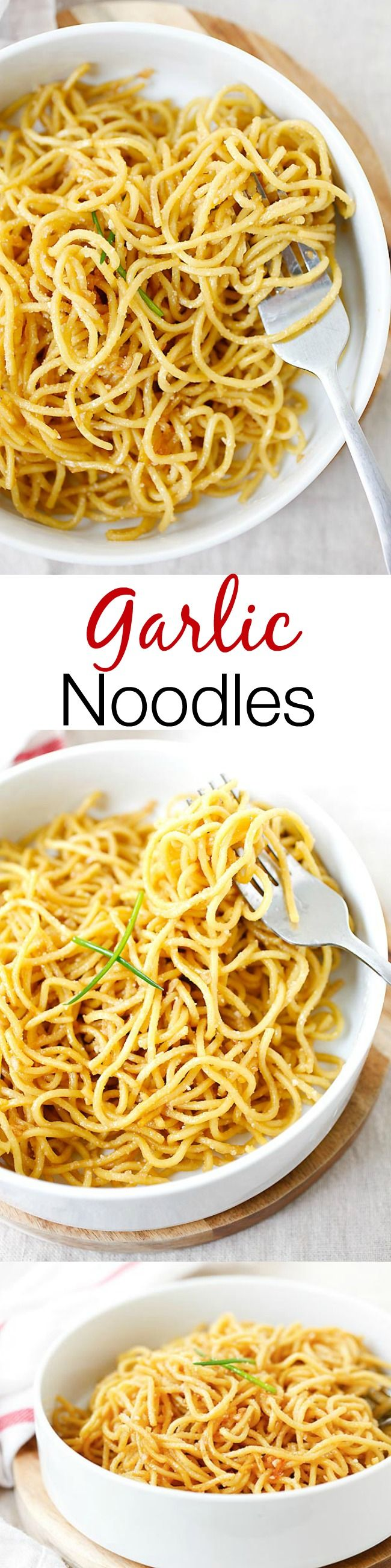 Garlic noodles – garlicky and buttery noodles with Parmesan cheese. SO easy and delicious you won't stop eating!!   rasamalaysia.com