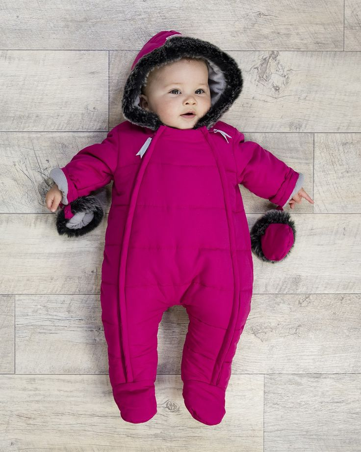 Baby Girls Fur Trimmed Snowsuit #babyclothes