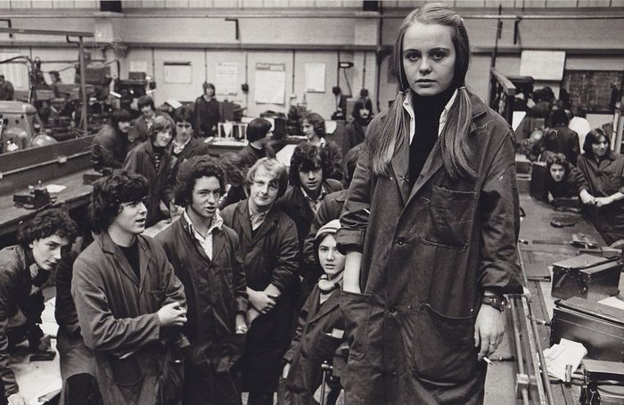 """John Jones - First girl in the training centre - Luton - U.K - 1976 """"Metal Work Girl Luton"""" portrait of Vivian Mordsley, the first woman at the Apprentices Training centre in Luton, U.K, 1976. Photograph by John Jones, staff photographer with the Echo & Post, a newspaper that was published in the town Hemel Hempstead in the U.K from the late 60's to 1983."""