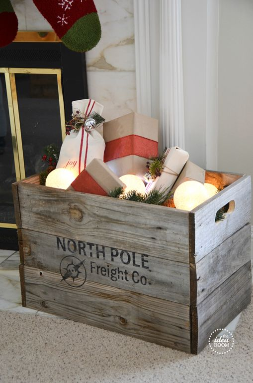 DIY North Pole Christmas Crate... (love the idea of a pretty place to stash the wrapped gifts while they wait to be taken to holiday gatherings)