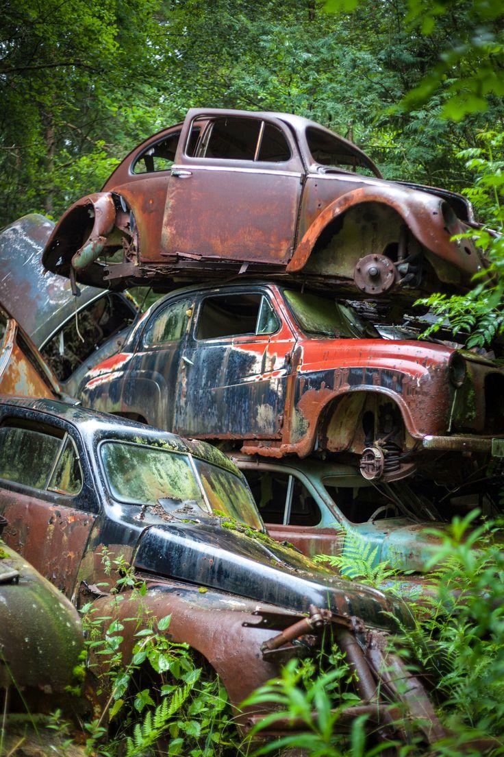 Un vieux cimetière de voitures en Suède - 2Tout2Rien