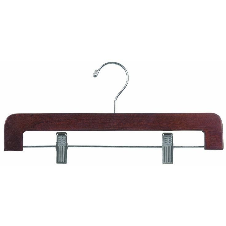 American Deluxe Rounded Wooden Pant Hanger with Walnut Finish and Adjustable Cushion Clips, Flat Bottom Hangers with Chrome Hook (box of