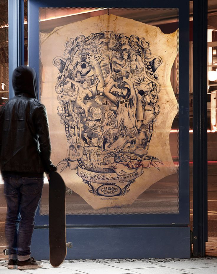 Showing some very nice style and an interesting surface and presentation choice, Munich's Chaos Crew have tattooed a large piece of calfskin, documenting the year that was 2011. If you were ever to see a tattooed canvas on calfskin that has both Dirk Nowitzki, Osama Bin Laden, and Amy Winehouse, this is your chance.