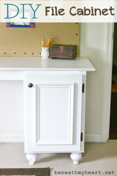DIY: File Cabinet Tutorial - this post shows how easy it is to attach drawer slides (available at Lowe's) to a cabinet, so the cabinet can hold files. This is a great way to repurpose an unused cabinet or a piece of furniture so it can be used to hold your files.