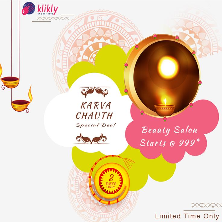 This #karwaChauth pamper yourself to amazing Beauty Salon services at your door step with just a klik! Avail tip-to-toe sessions at just Rs.₹ 999*. Limited Time offer. Book now! @Klikly #AtYourSeva