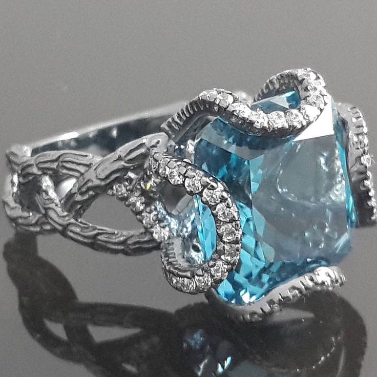 9ct gold ring 9mm london blue topaz  by IsaBellaJewellery on Etsy