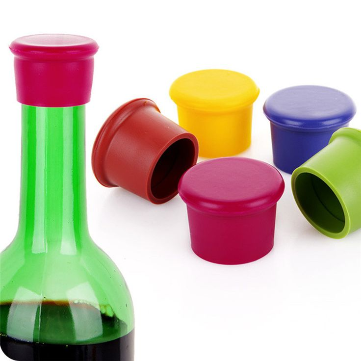 Pack of 5 Assorted Colors Silicone Reusable Wine Bottle Caps/Beer Sealer Cover silicon soft wine stopper mix color on sale