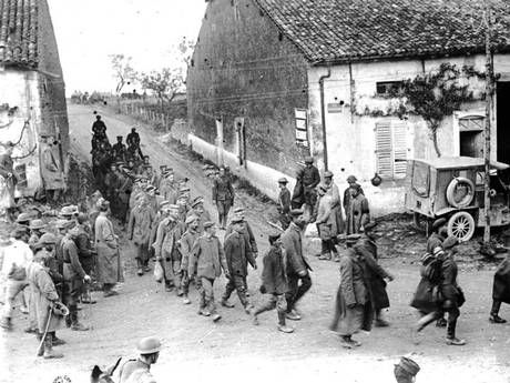 A group of captured Germans being marched through St Mihiel Salient (Getty)