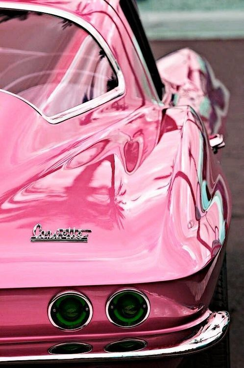 Pink #Corvette #ClassicCar QuirkyRides.com  (I'm not into pink but I like the shot,)