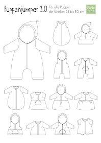 Freebook Puppenjumper 2.0 für Puppen 25 -50cm viele Variationen für Schlafsack, Kleid, Hoodie, Jacke, Weste