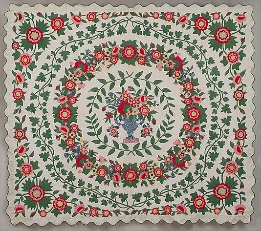 Floral applique quilt, ca. 1850