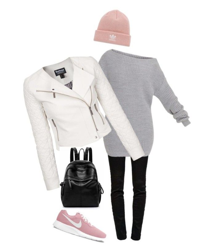 """white, black, grey"" by slavka-cesnek on Polyvore featuring J Brand, Barbour International, NIKE and adidas"