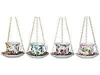 Fallen Fruits Best for Birds Vintage English Tea Cup with Saucer Bird Feeder