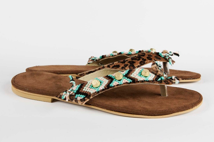 Jeweled leather sandal Gypsy Soul - Turquoise/Pink