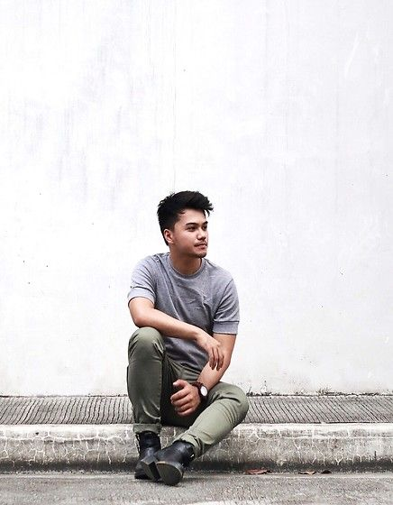 Straightforward Grey Shirt, Topman Olive Green Pants, Z Ara Boots, Daniel Wellington Watch #fashion #mensfashion #menswear #mensstyle #streetstyle #style #outfit #ootd