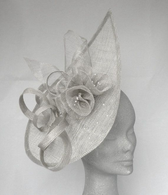 LULU Silver Grey Teardrop Fascinator Hatinator Headpiece for Mother of the  Bride 7f936076451