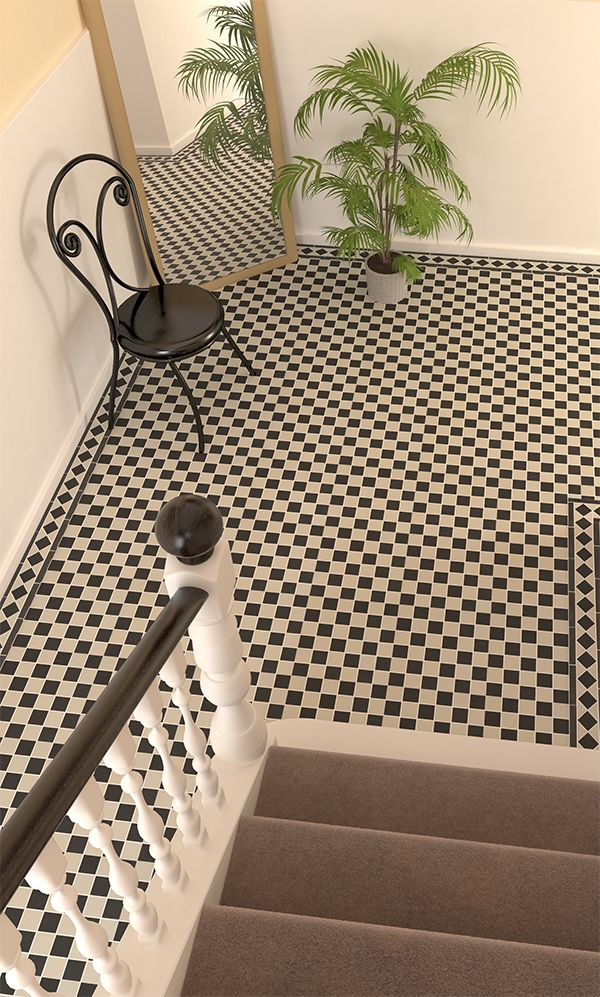 Create a classic chequerboard look with these black & white Victorian floor tiles