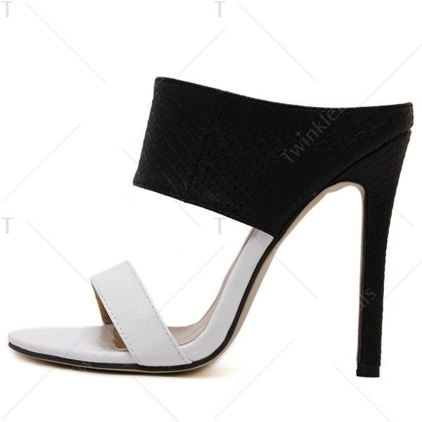 Faux Leather Two Tone Slippers White And Black ($38) ❤ liked on Polyvore featuring shoes, 2 tone shoes, black and white two tone shoes, synthetic leather shoes, black and white shoes and vegan shoes