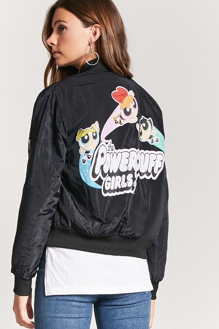 Product Name:Powerpuff Girls Graphic Bomber Jacket, Category:outerwear_coats-and-jackets, Price:34.9