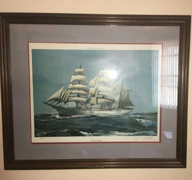 US Coast Guard Academy Training Barque Eagle Lithograph Kipp Soldwedel Signed #Realism