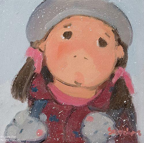 Guylène Saucier, 'Mitaines souris pour l'école', 8'' x 8''   Galerie d'art - Au P'tit Bonheur - Art Gallery