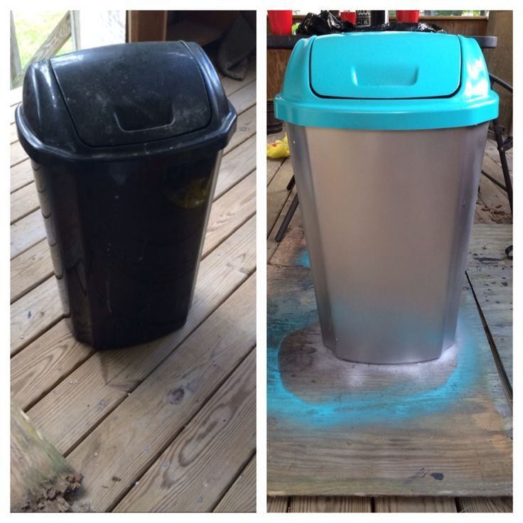 Plastic trash can make over! Very cheap and super easy. Just need spray paint :)